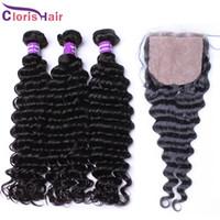 Wholesale Unprocessed Deep Curl Malaysian - Silk Base Closure With Bundles Unprocessed Malaysian Hair Deep Curly Wave 4 Piece 100% Human Hair Weaves Closures Deep Curl