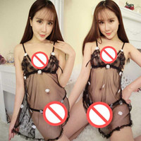 Wholesale Open Crotch Uniform Lingerie - Free Shipping New sexy lingerie Cosplay multi-color transparent open crotch sexy embroidery embroidery three-point sling pajamas pajamas