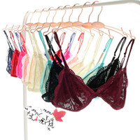 Wholesale Lace Triangle Bralette - women Lace Bra Wireless Brassiere Candy color Ultra-thin See Through Bralette Fashion Crop Top Triangle Bra Sexy Bust Bodice