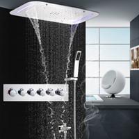 conjuntos de ducha led de pared al por mayor-5 Funciones Reccessed lluvia Cascada Mistfall LED cabezal de ducha de techo ducha termostática pared Set Montado SPA Masaje Ducha