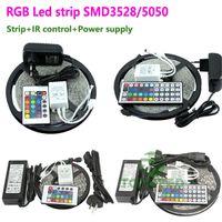Wholesale Cooler 12v 6a - Epacket Waterproof lighting 300Led SMD 3528 5050 RGB Flexible Led Strip Lights 120degrees + 24key 44key IR Remote +12V 2A 5A 6A Power Supply