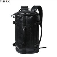 Wholesale Laptop Bags Backpack Style - Wholesale- Y.ZHUO high quality leather man backpacks unisex vintage duffel bag large capacity shoulder Laptop bag men messenger travel bag