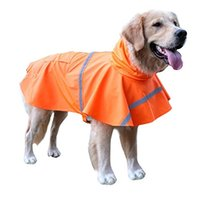 Wholesale Stripped Vest - Free shipping BINGPET BA1065 Adjustable Dog Raincoat Pet Puppy Lightweight Rain Jacket Poncho with Strip Reflective