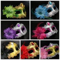 Wholesale Lily Flower For Masks - 6 Colors Masquerade Masks Venetian Face Mask Fashion Lily Flower Crystal Rhinestones Party Decoration Halloween Party Masks CCA7666 100pcs