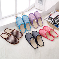 Wholesale Cheapest Leather Slippers - Men Women Winter Indoor Floor Slippers 2017 New Stripe Warm Cotton Shoes Home House Slippers Cheapest Home Slippers Whosales SLIPP-05