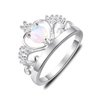 Wholesale wedding ring sets canada for sale - Group buy 6 Luckyshine Mother s Holiday Gentle Round White Fire Opal Gems Sterling Silver Plated Russia Canada USA Wedding Crown Rings