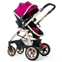 Wholesale Baby Big Wheel - Fashion Highview Baby Stroller, Pushchair Can Sit & Lie Down, Foldable, Bidirectional, 4 Big Wheels Children Pushchair, Portable Baby Pram