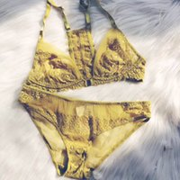 Wholesale yellow lace yarn with beautiful comfortable breathable underwear set