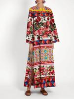kırmızı elbise uzun kesik tarafı toptan satış-Milan Pist Elbise 2017 O Boyun Uzun Kollu Uzun Kadın Elbise Kırmızı Güller Baskı Yan Yarık Gevşek Maxi Elbise DH029