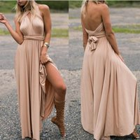 Wholesale Ladies Formal Dresses Wholesale - Woman Summer Dress Long Formal Party Gown Evening Dress Multi Rope Cross Backless Bandage Cocktail Sexy V Skirt Ladies Slim Sleeveless Dress