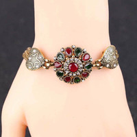 Wholesale Silver Chain Turkey - Gold Plated Crystal Rhinestone Colorful Bracelets Women Bangles Turkey Jewelry
