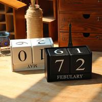 Wholesale Wooden Models Wholesales - Calendar Models Vintage Wooden Calendar The Living Room Decoration Home Furnishing DIY Yearly Planner Calendar Contemporary Decor