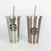 Wholesale Popular Coffee Mugs - 2017 Popular Double Wall Insulated 16 oz Stainless Steel Starbuck Thermo Bottle with Flip up Straw Coffee Mug Travel Tumbler