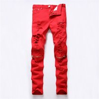 Wholesale Red White Black Ripped Denim Pant Knee Hole Zipper Biker Jeans Men Slim Skinny Destroyed Torn Jean Pants fear of god jeans