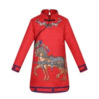 Wholesale Turtleneck Collar Kids - Children Girls Luxury Princess Dress Long Sleeve Floral Horse Pattern Printing Good Quality Children Kids Clothes
