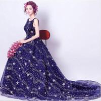 prom kleid lila federn kristall großhandel-Sexy Party Blue Abendkleid Backless Hangover Best Elegant Beading Ein Wort Schulter Prinzessin Lange Hochzeit