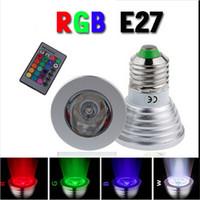 commander des lumières led achat en gros de-Économie d'énergie chaude 3W E27 GU10 MR16 RVB E14 Ampoule LED Lumière changeante de couleur + IR Mini commande à distance