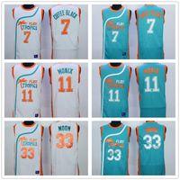 Wholesale Men Tropical Shirts - Flint Tropical Semi Professional Basketball Movie #33 Jackie Moon Jersey Shirt Stitched Green White Cheap 11 ED Monix 7 Coffee Black Jerseys