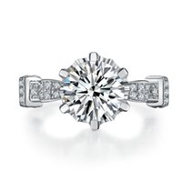 Wholesale Nscd Diamond Wedding Sets - 925 Sterling Silver 18k White Gold Plated 4ct NSCD Synthetic Diamond Women Wedding Ring Classic Jewelry Engagement Free Shipping