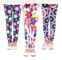 Wholesale Cheapest Kids Leggings - Hot summer baby girls leggings tights pant 2017 new kids new girls leggings flowers floral print pants leggings children trousers cheapest