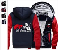 Wholesale One Size Cardigans - Wholesale Men 00 USA size ONE PUNCH-MAN Saitama Coat Zipper Hoodie Winter Fleece Unisex Thicken Jacket Clothi