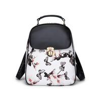 bonitas mochilas para meninas venda por atacado-Nova moda na moda jovens senhoras meninas bonito padrão de borboleta pu mochila de couro sacos namoradas presentes de aniversário presentes de natal