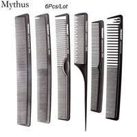 Wholesale professional hairdressing combs - Professional Salon HairCut Comb 6Pcs Lot Hairdressing Comb Set Antistatic Hair Carbon Comb Hairstyling Tools TG-06