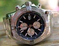 Wholesale pro wrist - Luxury AAA Top Quality Super Avenger II Black Dial Face Baton PRO III Stainless steel Bracelet Mens Sport Wrist Watches Quartz Men's Watch
