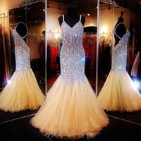 Wholesale Spaghetti Strap Teen Dress - Major Beading Mermaid Prom Dresses Back Criss Cross Straps Luxury Celebrity Pageant Dress For Girls Teens Backless Sexy Party Gowns