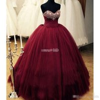 Wholesale romantic dresses for prom for sale - Group buy Real Images New Romantic Burgundy Quinceanera Dresses Sweetheart Beaded Tulle Puffy Formal Prom Dress for Sweet Ball Gowns Plus Size
