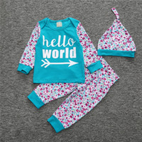 Wholesale Cute Birthday Gifts For Girls - Baby Girl Outfits Hello World Printing Newborn Baby Outfits Cotton 3 Pieces Set for Baby Shower Gift Birthday Present