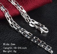 Wholesale Men 2mm Silver Chains - Man woman Necklace 925 sterling Silver 2MM long lattice Chain Necklace 16inch 18inch 20inch 22inch 24inch