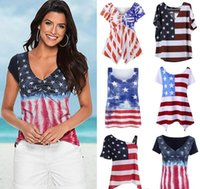 Wholesale Blouses American Flag - Lady Vest Women American Flag Loose 4th Of July short sleeve T-shirt Tops Blouse Plus Size