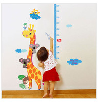 Wholesale height stick - SK9002 Giraffe Cartoon Measuring Height Stickers Removable Wallpaper Children Kid Room Cute Hot -sale Home Decoration