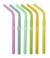 palhas para smoothies venda por atacado-Silicone Palhas de Eco para Smoothie Reutilizáveis Otários Flexíveis Palhas Bebendo para Copos de Café Tumbler Silicone Stripes Cores Sólidas Otários