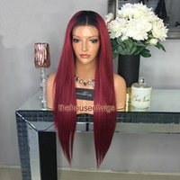 1b Red Ombre Lace Front Wigs With Dark Roots Glueless Full Lace Wigs Com bebê cabelo nodificado nó alto ponytail