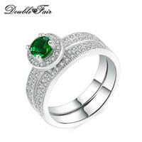 ingrosso set verde austriaco di cristallo-Moda verde imitazione pietra preziosa 18 carati placcato oro bianco anello set gioielli all'ingrosso per le donne cristallo austriaco DFR575