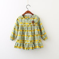 Wholesale Christmas Tree Tutu Dress - Everweekend Girls Tree Print Brooch Ruffles Dress Cute Baby Candy Color Clothes Princess Western Korean Fashion Fall Party Dress
