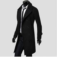 uzun kış montları erkekler toptan satış-Toptan-Erkek Trençkot 2017 Yeni Moda Tasarımcısı Erkekler Uzun Ceket Sonbahar Kış Kruvaze Rüzgar Geçirmez Ince Trençkot Erkekler NQ815086