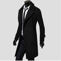 Großhandels Mens Trenchcoat 2017 New Fashion Designer Männer langen Mantel Herbst Winter Zweireiher winddicht schlanke Trenchcoat Männer NQ815086