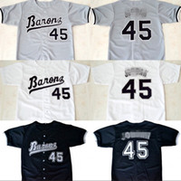 Wholesale Men S Button Down - Mens Michael #45 Birmingham Barons Button Down Micheal JD Jersey 100% Stitched Throwback Baseball Jerseys White Black Grey Free Shipping