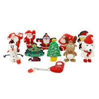 Wholesale Gadget Usb Drives - Hot Selling PVC Christmas Gift Tree Father Santa Claus Reindeer Boots Socks Gadgets Dog Olaf USB Flash Drive 1GB-32GB 8GB 16GB
