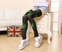 Foglie Leaf Harajuku Donne Lady Girl Thigh Alta sopra le calze del ginocchio Sexy Stocking Calze Medias 20170714