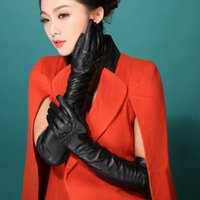 Wholesale Leather Gloves Bows - Wholesale- 2016 Italian women sexy autumn winter New style opera long genuine lambskin nappa leather dress show bow knot lov gloves mittens