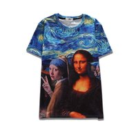 Wholesale Brown Wrinkle Paint - 2017 sping new summer wear novelty tees 3d print Mona Lisa oil painting short-sleeve womens tee unisex o-neck cool hip hop t-shirts