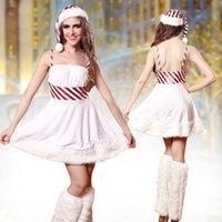 Wholesale Sexy 3pcs Corsets - 2017 Sexy Women Santa Dress Corset Christmas Costumes Velvet Strap Dress with Cap 3pcs Set Xmas Performance Uniform White