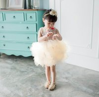 Wholesale Soft Organza Wedding Gowns - Spring Autumn Winter Baby Girl Party Dresses Fluffy Soft Gauze Tiered Tulle Ball Gown For Wedding Party Children Clothing E10102