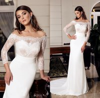 Wholesale Tull Wedding Dresses Sleeves - 2017 Spring Wedding Reception Dress Beach Party Sheer Tull Scoop Neck Off Shouler Lace Appliques Illusion Sleeves Fitted Bridal Gown