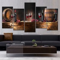Wholesale Canvas Paintings Wine Glasses - 5 Panel Canvas Prints Paintings Wall Art Fruit Grape Red Wine Glass Picture Art for Kitchen Bar Wall Decor Unframed