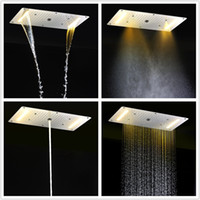 Wholesale luxury shower accessories - Luxury Bathroom LED ceiling Shower Head Bahroom Accessories SUS304 700x380mm Functions Rain Waterfall Mist Bubble Shower